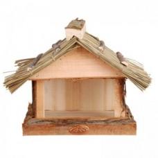 vogelhuisje met rieten dak
