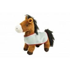 Groot staand pluche paard met deken
